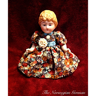 Antique German Molded Hair Parian Bisque Doll ~ 4in. ~ Mignonette