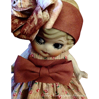 Adorable Little Flapper Kewpie Bisque Doll ~ 6.5in.