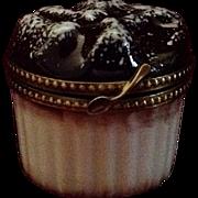 "Delicious Limoges Hand Painted ""Peint Mein"" Soufflé Ramekin Shape Trinket Box"