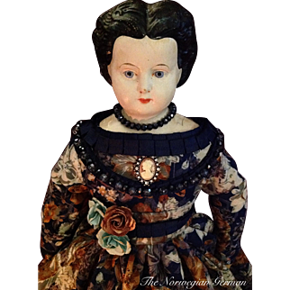 Gorgeous Antique Ludwig Greiner Papier Maché Doll with Cloth Body
