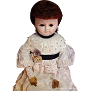 Beautiful Antique German Wax-Over Doll ~ LARGE