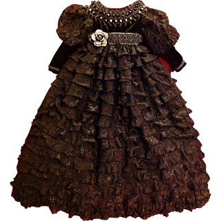 RESERVED FOR CLIENT   Custom Made/Sewn Dress, Cape, Bonnet, Undergarments for Antique Dagmar Doll