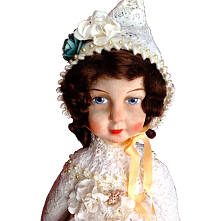 """Delightful Antique Raynal Type Cloth Doll ~ 24"""""""