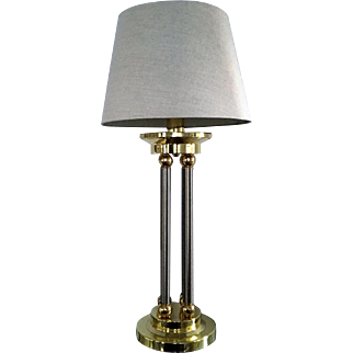 Neoclassical Style Brass and Chrome Column Lamp