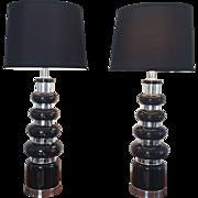 Mid Century Modern Black Silver Decorative Lamps