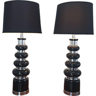 Mid Century Modern Black Silver Decorative Lamps