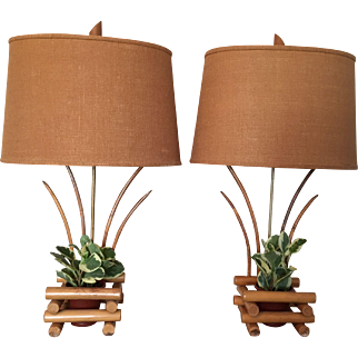 Mid Century Bamboo Planter Lamps