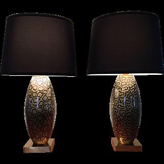 Pair Leopard Print Lamps