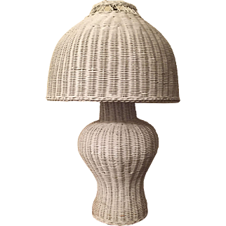 Vintage Wicker Ginger Jar Lamp