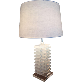 Mid Century Modern Stacked Lucite Lamp