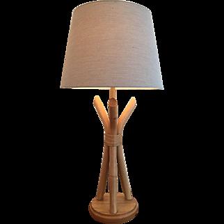 Mid Century Bamboo Rattan Lamp