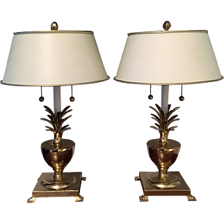 Pineapple Fluted Brass Table Lamps Tole Shades