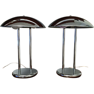 Mid Century Hollywood Regency CHROME MUSHROOM Lamps
