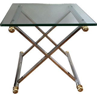 Directoire Campaign Style Chrome Brass Campaign Table