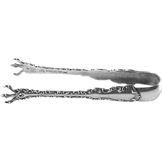 """Antique Sugar Tongs in Louis XV (Sterling, 1891) by Whiting Division, 4-1/8"""""""