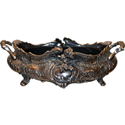 Art Nouveau Jardiniere Center Piece, White Metal or Pewter 1890C