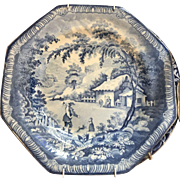 19thC English Pottery Blue Transferware by Brameld, Octagon 1806-1845 ca