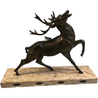 Bronze Elk Stag Shot with Arrow on Marble