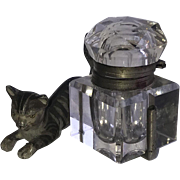 Victorian Cat Inkwell, Painted and Crystal
