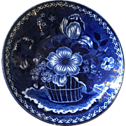 Clew's English Blue & White Transferware Pottery Bowl, Staffordshire dating 1818-1834. $275