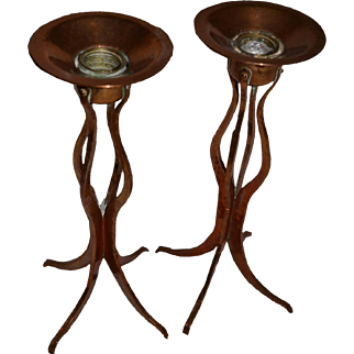 Copper Candlesticks Hand Forged ca 1900  Combined style Arts and Crafts with Art Nouveau