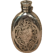 Victorian Sterling Overlay and Etched Art Nouveau Hip Flask Marked Gorham