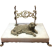 Antique Bronze Dog (Irish Setter) Inkwell and 3-Pen Holder on Marble Base, Initials JC Cut-Out in Bronze