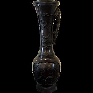 Japanese Bronze Mythical Seasons Vase - Taisho era, circa 1900 - 1910