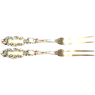 Pair Antique Gorham Sterling, Luxembourg Vermeil Enamel (Rare), Berry Forks, 1853-1892