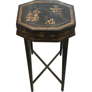 Mid-19th C Oriental Black Lacquered Gilded Octagonal Box on Stand