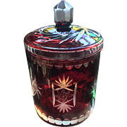 Vintage Bohemian Czech Ruby Art Glass Covered Biscuit Jar
