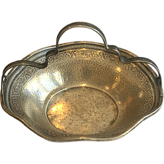 Sterling Silver Basket w/handle was made by Webster Co, N. Attleboro, Mass., 1894-1950, 84.41 grams