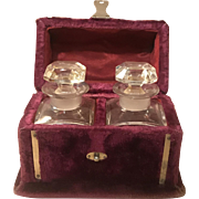 Late Victorian Velvet Perfume Casket with 2-Crystal Bottles
