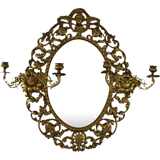 Antique Victorian Brass Cast Wall Mirror with Cherub Angel and 2 Candle Sconces