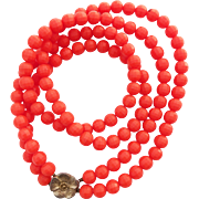 1960's Vintage Bright Orange Plastic 2-Strand Necklace with Goldtone Flower Clasp