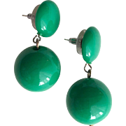 1960s Bright Green Lucite Dangles-Converted to Pierced Earrings