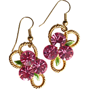 1980s Vintage Pink Rhinestone Earrings-Converted to Pierced Earhooks