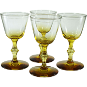 Set of 4 Mid-Century Vintage Forever Amber/Yellow Ombre Libbey Glass Co. Cordial Glasses