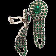 Vintage Emerald-Colored Green Rhinestone Cufflinks