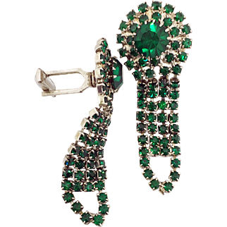 Vintage Emerald-Colored Green Rhinestone Cufflinks
