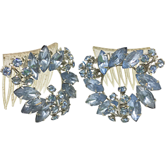 Blue Rhinestone Vintage Haircombs