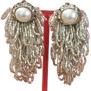Vintage Clipback Shoulder-duster Earrings with Simulated Pearl Centers and Cascading Beads