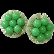 1940's Era Light Green Acrylic and Straw Clipback Earrings