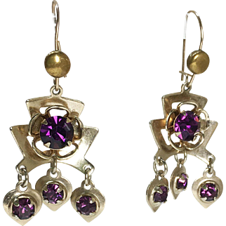 Art Deco Brass Dangling Ear Wires with Amethyst-colored Rhinestones