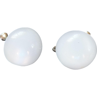 1950's White Moonglow Lucite Screwback Earrings