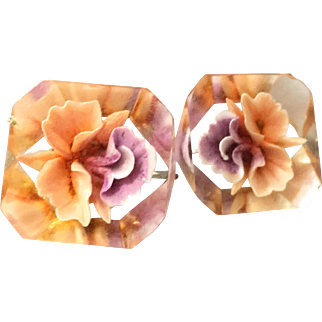 Lucite Screwback Earrings with Embedded Reverse-carved Roses
