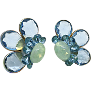 Simulated Opal Clip-back Earrings with Blue Acrylic Rhinestones