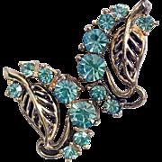 Aqua-blue Rhinestone and Goldtone Cutout Leaf Screw-back Earrings