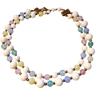 1950's Pink, Green, Blue, White Milk Glass Choker-style Necklace