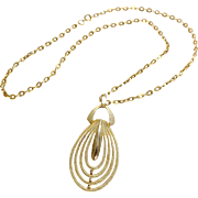 Large 1970's Goldtone Pendant with chain